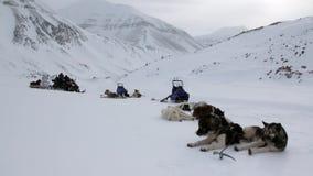Ludzie wyprawa i sanie pies odpoczywają na śnieżnej drodze biegun północny w Arktycznym zbiory