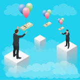 Ludzie wysyła pieniądze i otrzymywa Mieszkanie stylowe wektorowe ikony Sterta dolary Płaska 3d wektorowa isometric ilustracja, ilustracji