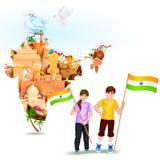 Ludzie z indianin flaga Obrazy Stock