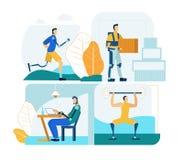 Ludzie z Prosthesis w pracie i życiu Mieszkanie set royalty ilustracja