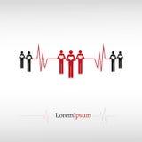 Ludzie z sercem i kardiogramem Obraz Stock