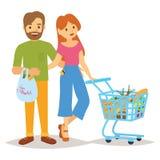 Ludzie z zakupy i tramwajem Robiący zakupy ludzi kobiety i mężczyzna z torba na zakupy Typ ludzie w centrum handlowego supe Zdjęcia Stock