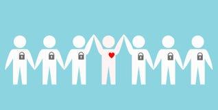 Ludzie z zamkniętymi sercami nad błękitnym tłem, akcyjna wektorowa bolączka ilustracji
