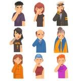 Ludzie Zakrywa Ich twarz z rękami Ustawiać, mężczyznami i kobietami Robi Facepalm gestom, wstyd, migrena, rozczarowanie ilustracja wektor