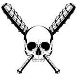 Ludzka czaszka i dwa krzyżującego kija bejsbolowego zakrywających z drutem kolczastym ilustracja wektor