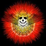 Ludzka czaszka z skrzydłami i słońce w abstrakcjonistycznej sztuce projektujemy ilustracji