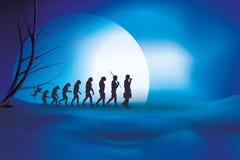 Ludzka ewolucja od małpy biznesmen Błękitny nocy tło ilustracji