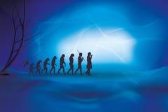 Ludzka ewolucja z biznesmenem Istota ludzka - biznesowa ewolucja ilustracja wektor