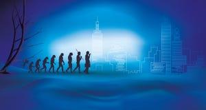 Ludzka ewolucja z biznesmenem - przemiana od natury technologia i miasto Błękitny nocy tło ilustracji