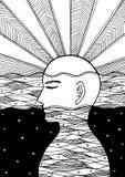 Ludzka głowa, chakra władza, inspiracja abstrakta myśl, świat, wszechświat wśrodku twój umysłu royalty ilustracja