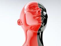 Ludzka głowa oddzielał linią jako symbol równowaga i różnorodność ilustracja wektor