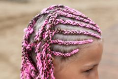 Ludzka głowa z różowymi dreadlocks fryzury, młoda Kaukaska dziewczyna, zakończenie widok zdjęcie royalty free