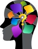Ludzka głowa z znak zapytania logo ilustracji
