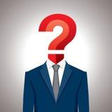 Ludzka głowa z znaka zapytania symbolem. \ Fotografia Stock