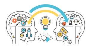 Ludzka praca zespołowa wymienia pomysłów, dialog i spora strony internetowej bann, ilustracja wektor