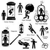 Ludzka Przyszłościowa technologii nauki fikci ikona Cliparts ilustracja wektor