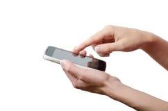 Ludzka ręka dotyka mądrze telefonu ekran odizolowywającego na białym tle Fotografia Royalty Free