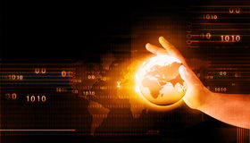 Ludzka ręka trzyma cyfrowego świat Fotografia Royalty Free