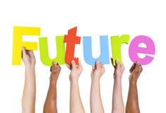 Ludzka ręka Trzyma słowo Przyszłościowy Zdjęcie Stock