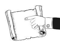 Ludzka ręka wskazuje pusty pergamin, ślimacznica Fotografia Stock