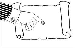 Ludzka ręka wskazuje pusty pergamin, ślimacznica Zdjęcie Royalty Free