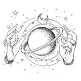 Ludzka ręka z astronautycznymi i świętymi geometria symbolami Dotwork tatto ilustracji