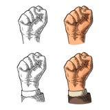 Ludzka ręka z zaciskającym pięść Wektorowym czarnym rocznikiem grawerował ilustrację odizolowywającą na białym tle Ręka znak Obraz Stock