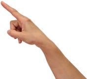 Ludzka ręka, wskazuje Obrazy Royalty Free