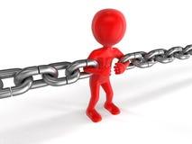Ludzki charakter i łańcuch (ścinek ścieżka zawierać) Zdjęcie Stock
