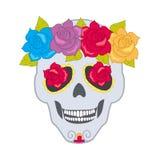 Ludzki czaszki i kwiatu wianek Odosobniony Cranium ilustracja wektor