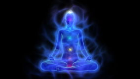 Ludzki energetyczny ciało, aura, chakras w medytaci ilustracja wektor