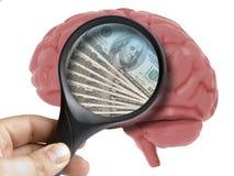 Ludzki Mózg Analizujący z powiększać - szklani pieniędzy dolarów banknoty usa wśrodku nałogu odizolowywającego royalty ilustracja