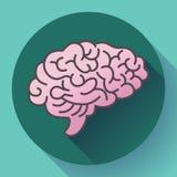 Ludzki mózg ikona, symbol intelekt, nauka, uczenie i edukacja, royalty ilustracja