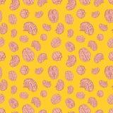 Ludzki mózg ikony na żółtym tle bezszwowym Fotografia Royalty Free
