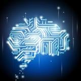 Ludzki mózg jako chip komputerowy ilustracji