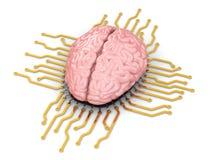 Ludzki mózg jako chip komputerowy. Pojęcie jednostka centralna. ilustracji