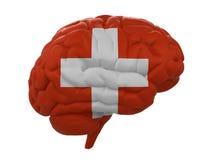 Ludzki mózg jest barwiącym flaga Szwajcaria Zdjęcie Stock