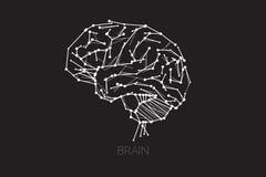 Ludzki mózg linii kropki projekta pojęcie ilustracja wektor