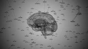 Ludzki mózg Plexus z liczbami Piękny tło Pojęcie nauka, medycyna i biznes, pętla ilustracja wektor
