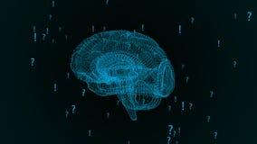 Ludzki mózg Plexus z okrzyków znakami zapytania i ocenami Piękny tło Pojęcie nauka ilustracja wektor