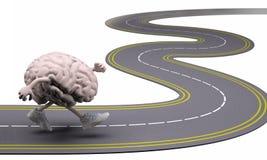 Ludzki mózg z rękami, nogami i sneackers na jego ciekach, zdjęcie royalty free