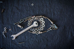 Ludzki oko narzędzia i dokrętki Zdjęcia Stock