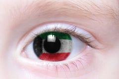 ludzki oko z flaga państowowa Kuwait Zdjęcia Stock