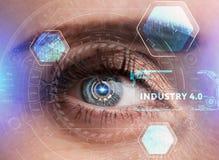 Ludzki oko z futurystycznym interfejsem technologia zwiększająca rzeczywistość Obrazy Stock