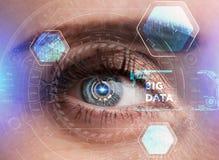 Ludzki oko z futurystycznym interfejsem technologia zwiększająca rzeczywistość Fotografia Stock