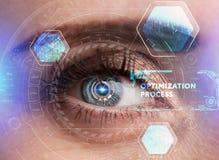 Ludzki oko z futurystycznym interfejsem technologia zwiększająca rzeczywistość Obraz Stock