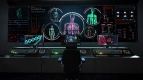 Ludzki opieki medycznej centrum, główny kontrolny pokój, Żeńskiego ciała skanerowania naczynie krwionośne, limfatyczny, krążeniow royalty ilustracja