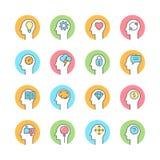 Ludzki umysł, brainstorming, myśleć kreskową płaską ikonę ilustracji