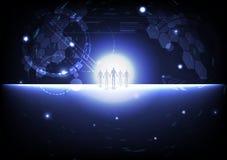 Ludzki współpraca, strategicznych sojuszy piksla galaxy biznesowej przestrzeni planety outside biznes, technologii cyberprzestrze ilustracji