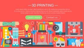 Ludzkich organów 3d drukarki technologii pojęcia płaski set 3d drukowa medycyna Sieć chodnikowa sztandar Fotografia Royalty Free